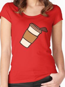 Take it Away Coffee Pattern Women's Fitted Scoop T-Shirt