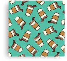 Take it Away Coffee Pattern Canvas Print