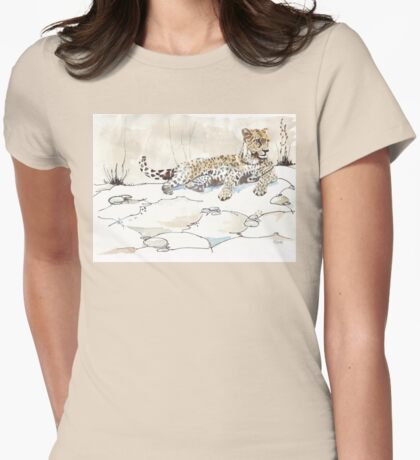 African Leopard {Panthera pardus} 'Luiperd' Womens Fitted T-Shirt