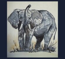 African Elephant sketch Kids Tee