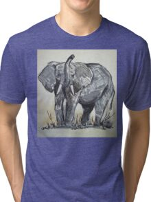 African Elephant sketch Tri-blend T-Shirt