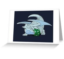 D20 White Dragon Greeting Card