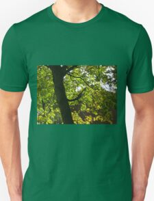 Tree Silhouette with Backlit Leaves Unisex T-Shirt