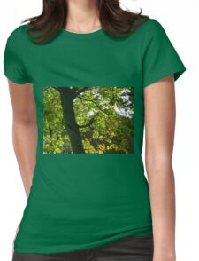 Tree Silhouette with Backlit Leaves Womens Fitted T-Shirt