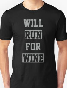 Will Run For Wine Charcoal T-Shirt