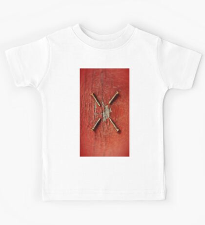 Brass Screws on Red Entropy Kids Tee