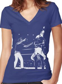 Jerry Lawler Piledriving Andy Kaufman Vector Women's Fitted V-Neck T-Shirt