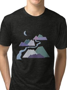 Geometric Flat Abstract Halftone Mountains Trendy Winter Colors Tri-blend T-Shirt