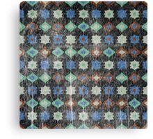 Retro pattern old geometrical grunge textile print fabric background Canvas Print