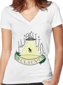 Believe Women's Fitted V-Neck T-Shirt