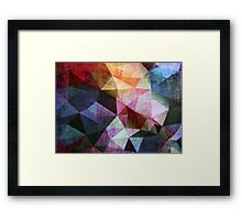 Abstract grunge print of triangles polygon. Retro design fabric textile Framed Print