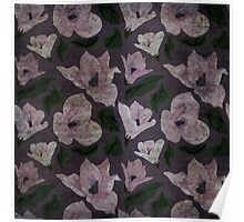 Vintage grunge floral pattern old retro print textile fabric background Poster