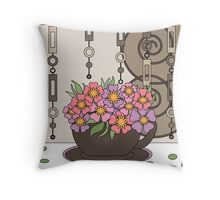 Tea print with cup and flowers. Pattern retro colors Throw Pillow