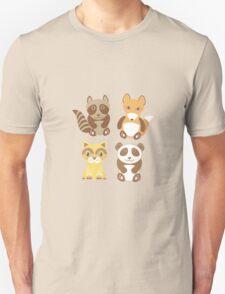 raccoon, panda, fox, cat on polka dot background Unisex T-Shirt
