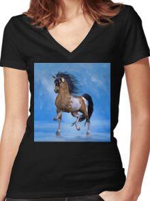Buckskin Paint Stallion Women's Fitted V-Neck T-Shirt