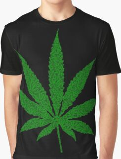 Weed Leaf with Weed Leaf Pattern for 420 Graphic T-Shirt