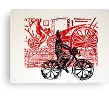 Black & Red Print - Flower Wheels Canvas Print