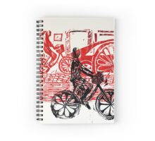 Black & Red Print - Flower Wheels Spiral Notebook