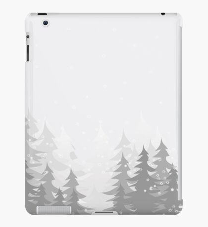 winter landscape with spruce trees in snow,vector illustration iPad Case/Skin