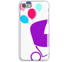 baby stroller with balloons,vector illustration iPhone Case/Skin