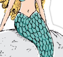 Beautiful blond mermaid resting on a rock, sticker Sticker