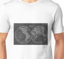 Vintage Map of The World (1857) Black & White Unisex T-Shirt