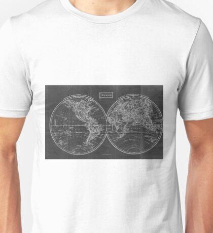 Vintage Map of The World (1857) Black & White Unisex T-Shirt