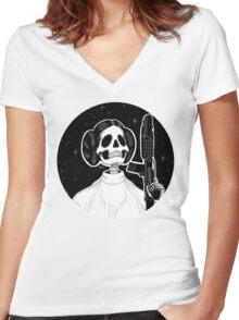 Leia (Stack's Skull Sunday) Women's Fitted V-Neck T-Shirt