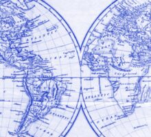 Vintage Map of The World (1857) White & Blue Sticker
