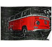 Red combi Volkswagen side _edited version Poster