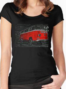 Red combi Volkswagen side _edited version Women's Fitted Scoop T-Shirt