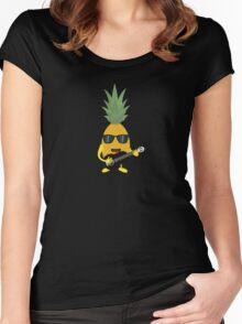 Rock 'n' Roll Pineapple Women's Fitted Scoop T-Shirt