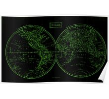 Vintage Map of The World (1857) Black & Green  Poster
