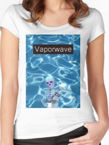 Vaporwave Skeleton - Coffee Women's Fitted Scoop T-Shirt