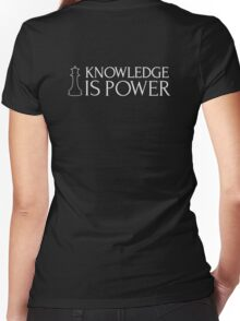 Chess Shirt - Knowledge is Power Women's Fitted V-Neck T-Shirt