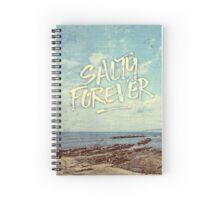 Salty Forever Vintage Sea Ocean Sky Water Quote Spiral Notebook
