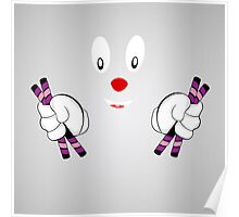 cheerful clown on a gray background Poster