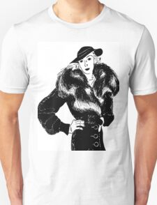 fashionable lady in fur coat T-Shirt
