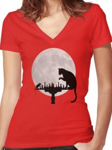 Cat and Rat Playing Chess  Women's Fitted V-Neck T-Shirt