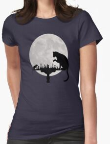 Cat and Rat Playing Chess  Womens Fitted T-Shirt