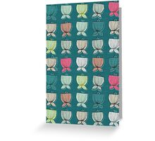 flower cups teal Greeting Card