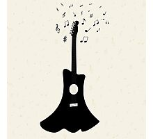 guitar with notes flying on the background,vector illustration Photographic Print