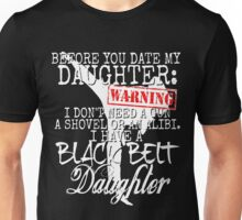 Funny Daughter Shirt Date Dating Mom Dad Martial Arts Teen Karate Taekwondo Unisex T-Shirt