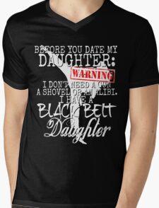 Funny Daughter Shirt Date Dating Mom Dad Martial Arts Teen Karate Taekwondo Mens V-Neck T-Shirt