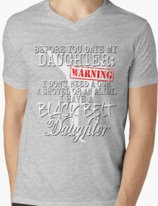 Funny Daughter Shirt Date Dating Mom Dad Martial Arts Teen Karate Taekwondo Mens V-Neck T-Shirt