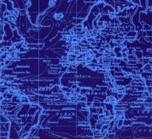 World Map (1899) Blue & Light Blue Sticker