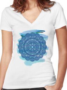 Mandala 001 - Watercolor Edit Women's Fitted V-Neck T-Shirt