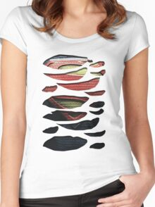Superhero Ripped Chest Women's Fitted Scoop T-Shirt