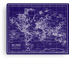 World Map (1899) Blue & White Canvas Print