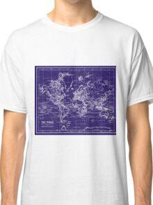 World Map (1899) Blue & White Classic T-Shirt